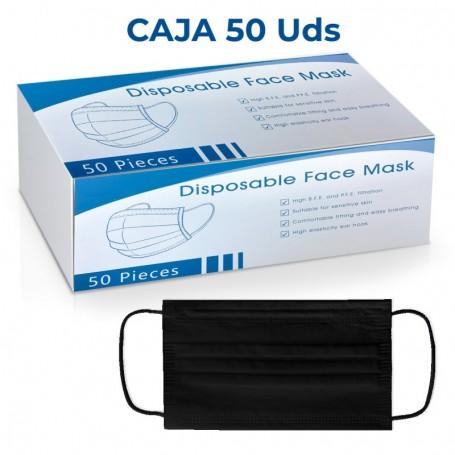 Box 50 x Triple Layer Hygienic Mask - Disposable Black
